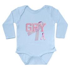 GFY initials, Pink Ribbon, Long Sleeve Infant Body