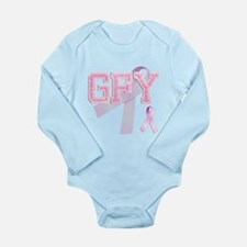 GFY initials, Pink Ribbon, Long Sleeve Infant Body