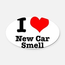 new car smell.png Oval Car Magnet