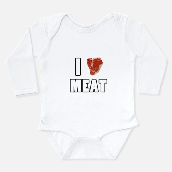 I Heart Meat Long Sleeve Infant Bodysuit
