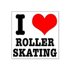 "i heart roller skating.png Square Sticker 3"" x 3"""