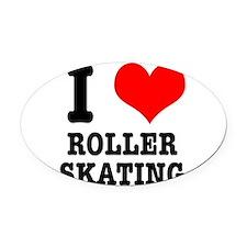 i heart roller skating.png Oval Car Magnet