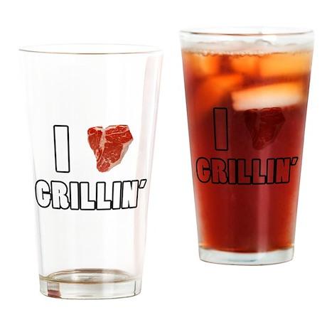 I Heart Grillin Drinking Glass