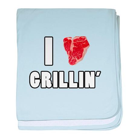I Heart Grillin baby blanket