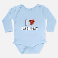 I Heart Labor Day Long Sleeve Infant Bodysuit