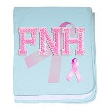 FNH initials, Pink Ribbon, baby blanket