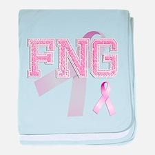 FNG initials, Pink Ribbon, baby blanket