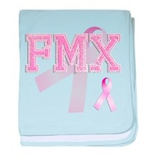 FMX initials, Pink Ribbon, baby blanket
