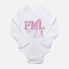 FML initials, Pink Ribbon, Long Sleeve Infant Body