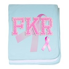 FKR initials, Pink Ribbon, baby blanket