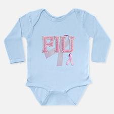 FIU initials, Pink Ribbon, Long Sleeve Infant Body