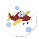 Giraffe - Airplane Round Car Magnet