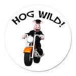hog wild pig.png Round Car Magnet