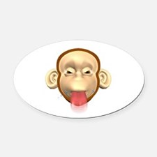 monkey sticking out tongue.png Oval Car Magnet