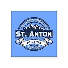 "St. Anton Blue Square Sticker 3"" x 3"""