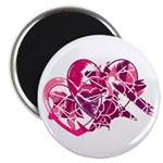 Abstract Pink-Purple Hearts Magnet