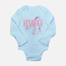 EWU initials, Pink Ribbon, Long Sleeve Infant Body