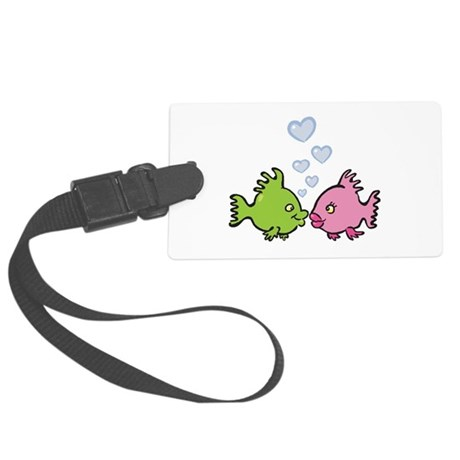 fish in love valentine.png Large Luggage Tag