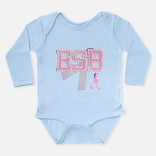 ESB initials, Pink Ribbon, Long Sleeve Infant Body
