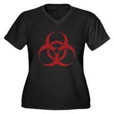 Vintage Biohazard Women's Plus Size V-Neck Dark T-