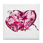 Firey Art Heart Tile Coaster