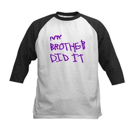 "Purple ""My Brother Did It"" Kids Baseball Jersey"