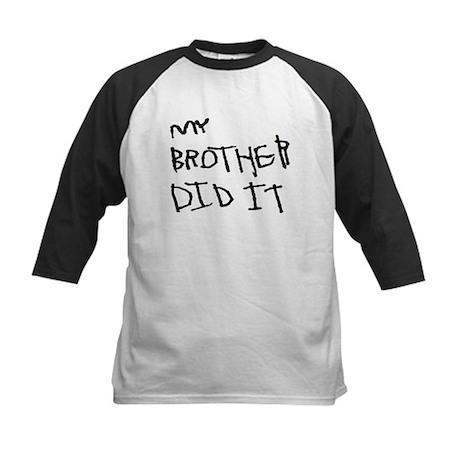 "Black ""My Brother Did It"" Kids Baseball Jersey"