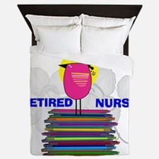 RETIRED NURSE BOOK BIRD.PNG Queen Duvet