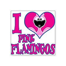 "love flamingos.png Square Sticker 3"" x 3"""