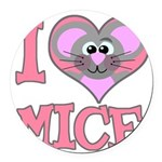 love mice.png Round Car Magnet