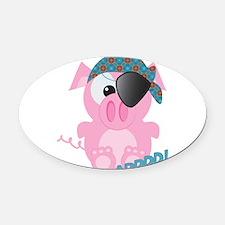 piggy pirate.png Oval Car Magnet