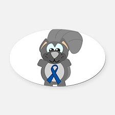 blue ribbon squirrel copy.png Oval Car Magnet