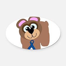 blue ribbon bear copy.png Oval Car Magnet