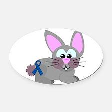 blue ribbon bunny rabbit copy.png Oval Car Magnet