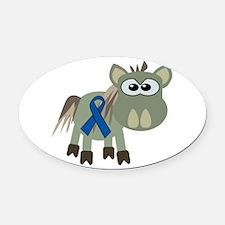 blue ribbon donkey copy.png Oval Car Magnet