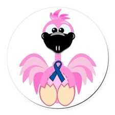 blue ribbon flamingo copy.png Round Car Magnet