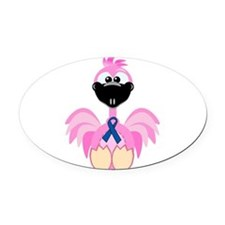 blue ribbon flamingo copy.png Oval Car Magnet