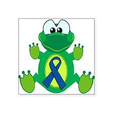 "blue ribbon froggy copy.png Square Sticker 3"" x 3"""