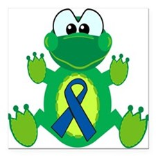 "blue ribbon froggy copy.png Square Car Magnet 3"" x"