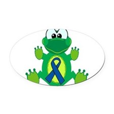 blue ribbon froggy copy.png Oval Car Magnet