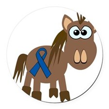 blue ribbon horse copy.png Round Car Magnet