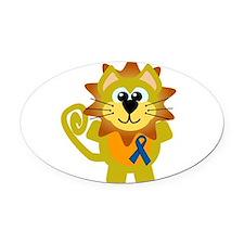 blue ribbon lion copy.png Oval Car Magnet