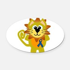 blue ribbon lion copy.png Oval Car Magnet