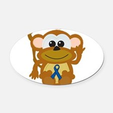 blue ribbon monkey copy.png Oval Car Magnet