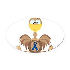 blue ribbon ostrich copy.png Oval Car Magnet