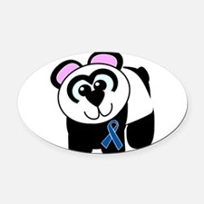 blue ribbon panda copy.png Oval Car Magnet