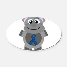blue ribbon rhino copy.png Oval Car Magnet