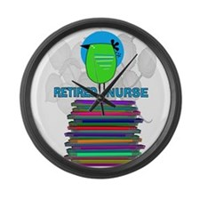 RETIRED NURSE BOOK BIRD GREEN.PNG Large Wall Clock