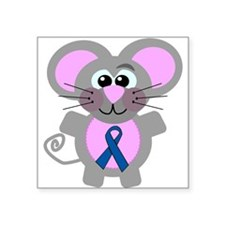 "blueribbon mouse copy.png Square Sticker 3"" x 3"""