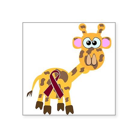 "burg ribbon giraffe copy.png Square Sticker 3"" x 3"